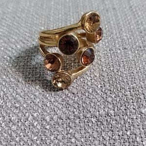 Pilgrim gold tone topaz and Amber ring